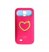 Coque rigide phosphorescente rose i- Glow avec support vid&eacute;o pour Galaxy S4
