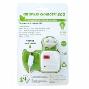 Swiss Charger Eco Chargeur de Secteur Micro USB pour tel portable