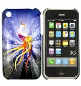 Coque oiseau de paradis tons roses sur fond bleu gris iphone 3g 3gs