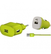 Pack charge 3 en 1 Colorblock vert metal pour iPhone/iPod