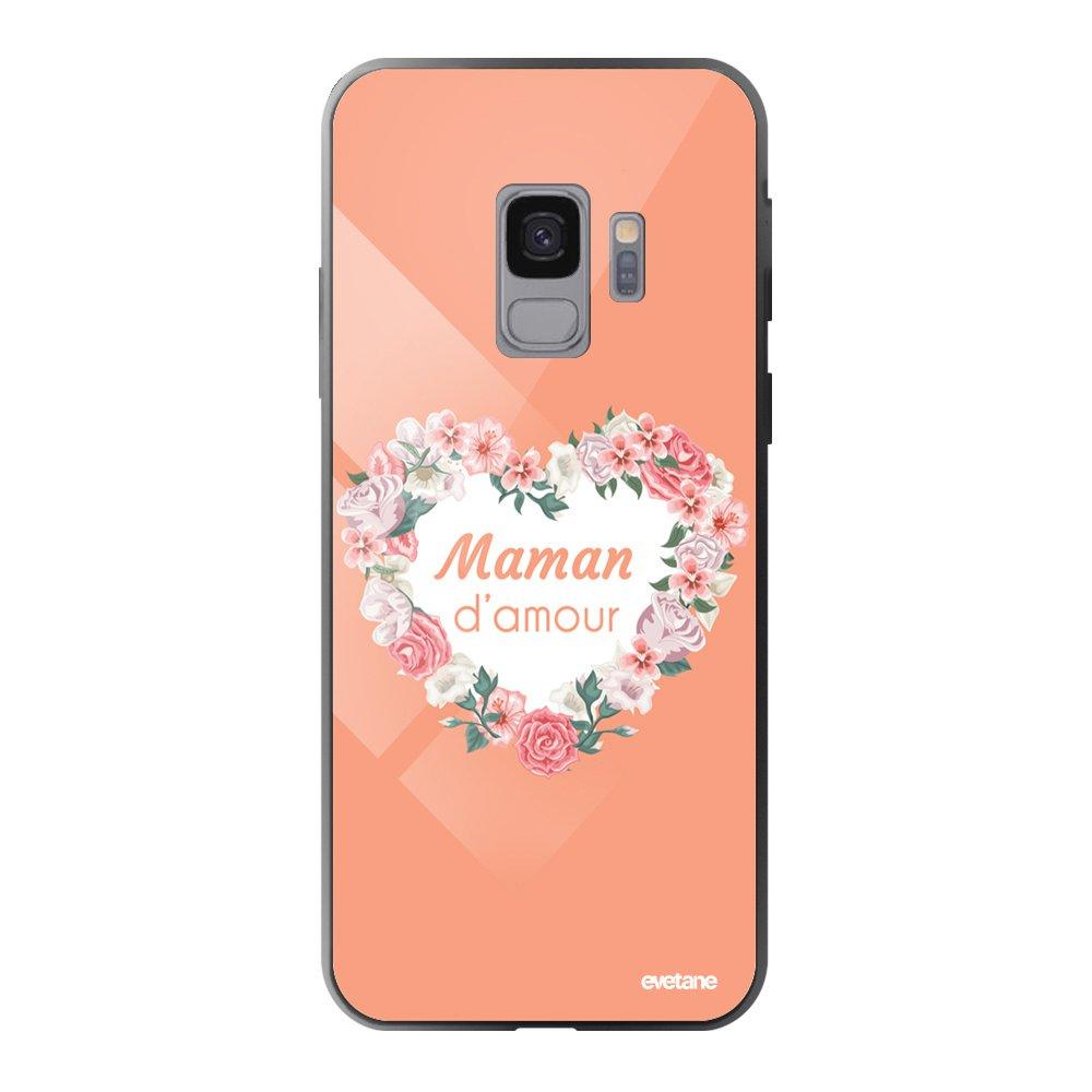 Coque en verre trempé pour Samsung Galaxy S9 Coeur Maman D'amour Ecriture Tendance et Design [Evetane®]