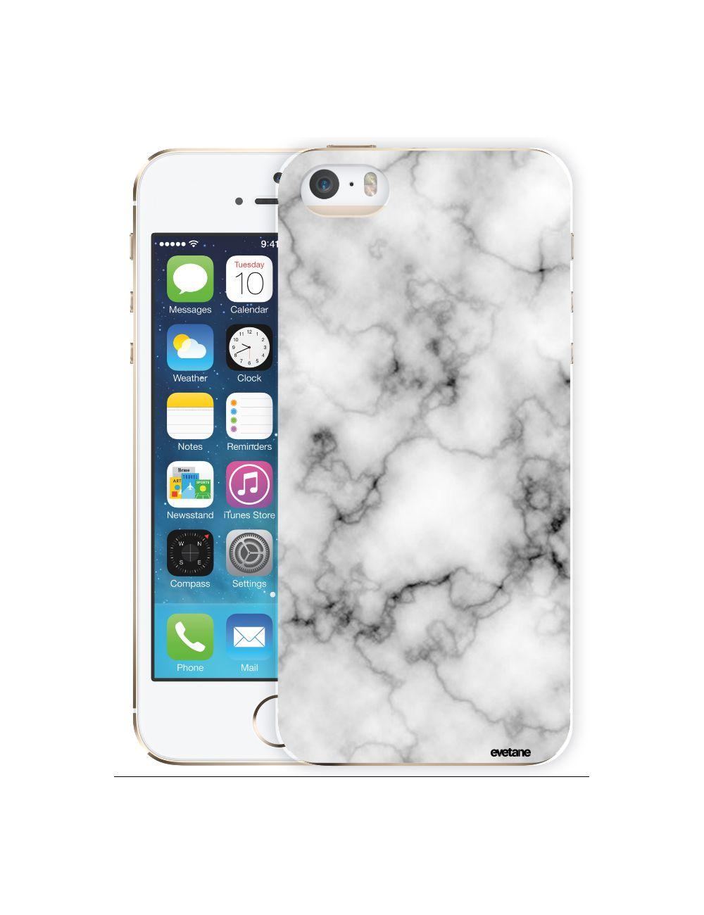 Coque pour iPhone 5/5S/SE rigide transparente Marbre blanc Dessin [Evetane®]